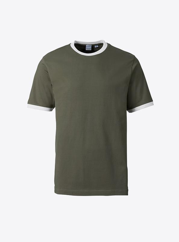 Herren T Shirt Mit Transferdruck Bedrucken Lassen Sonar Soccer 2082 Olive White