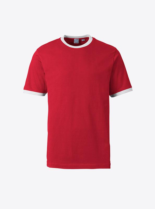 Herren T Shirt Mit Werbung Bedrucken Lassen Sonar Soccer 2082 Red White