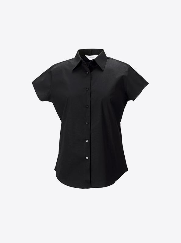 Kurzarm Hemd Fuer Damen Mit Logo Bedrucken Besticken Russell 947f Farbe Black