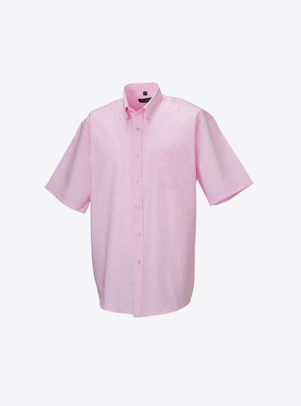 Kurzarm Hemd Fuer Herren Bedrucken Russell 933m Farbe Classic Pink