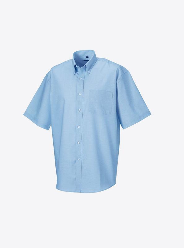 Kurzarm Hemd Fuer Herren Drucken Russell 933m Oxford Blue