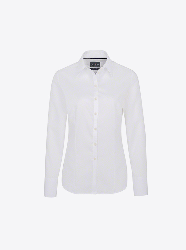 Langarm Hemd Damen Mit Logo Bedrucken Besticken Hakro 102 Weiss