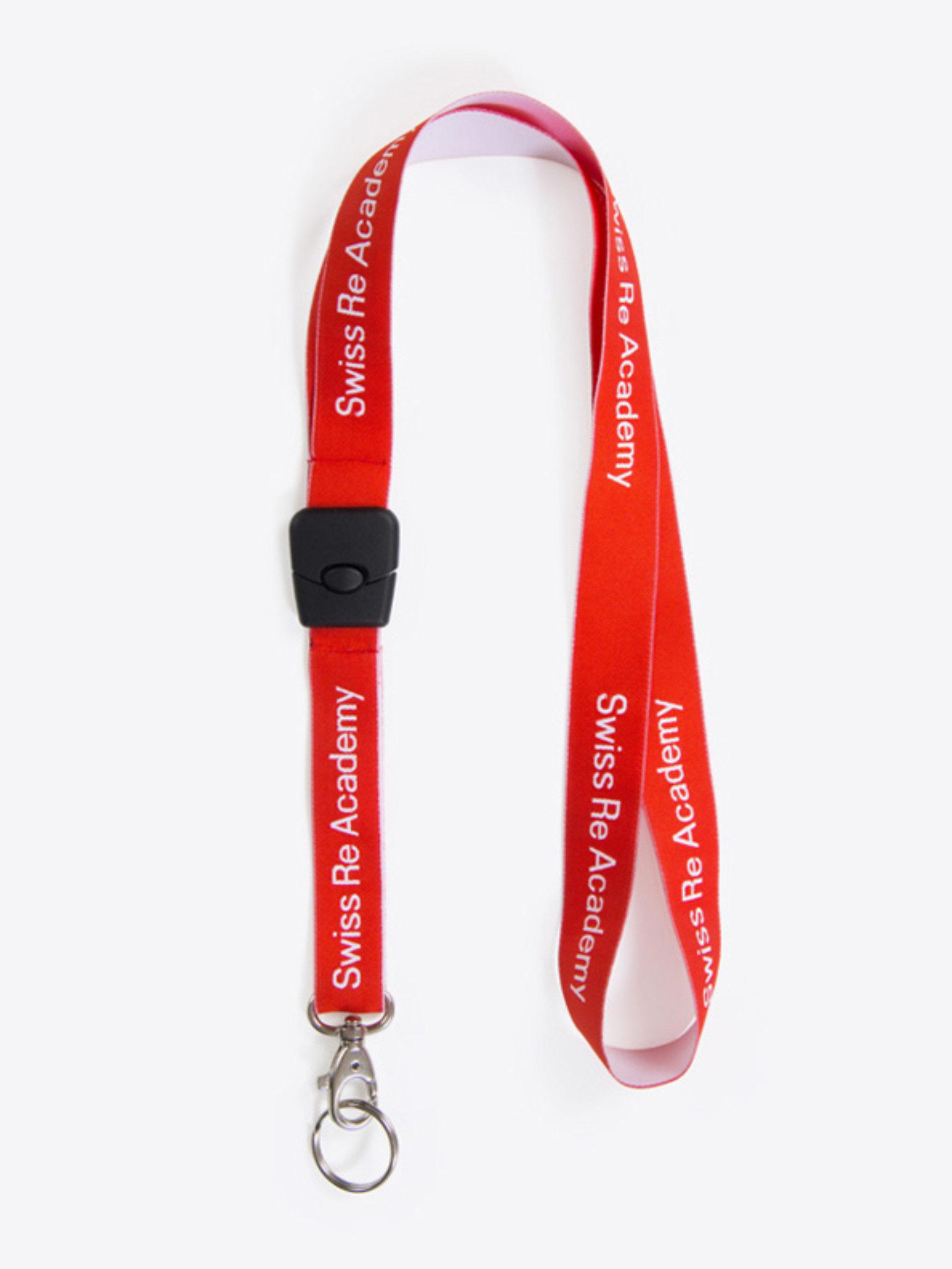 Lanyard Schluesselband Bedrucken Mit Einwebung Polyester Mit Steckschnalle