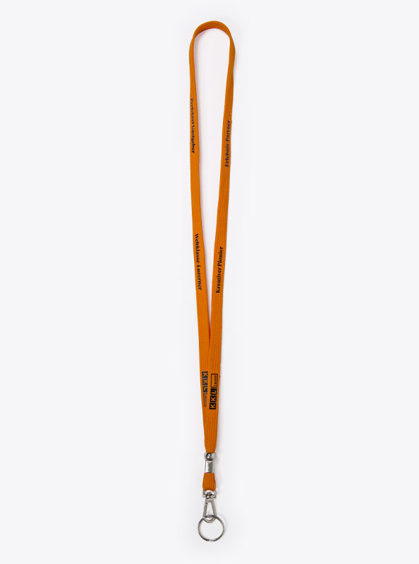 Lanyard Schluesselband Knitted Tubular Mit Logo Bedrucken Kkl Orange