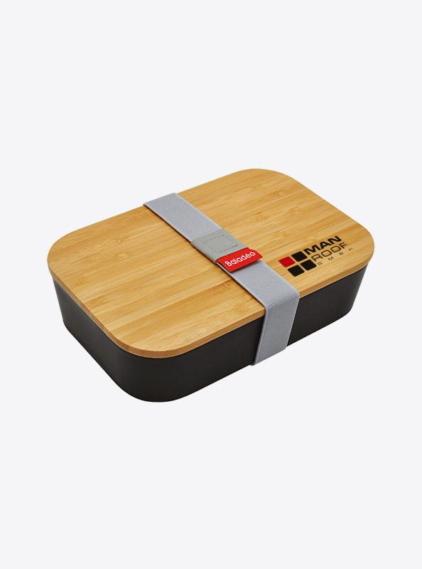 Lunchbox Akita Schwarz Bambus Mit Logo Manroof