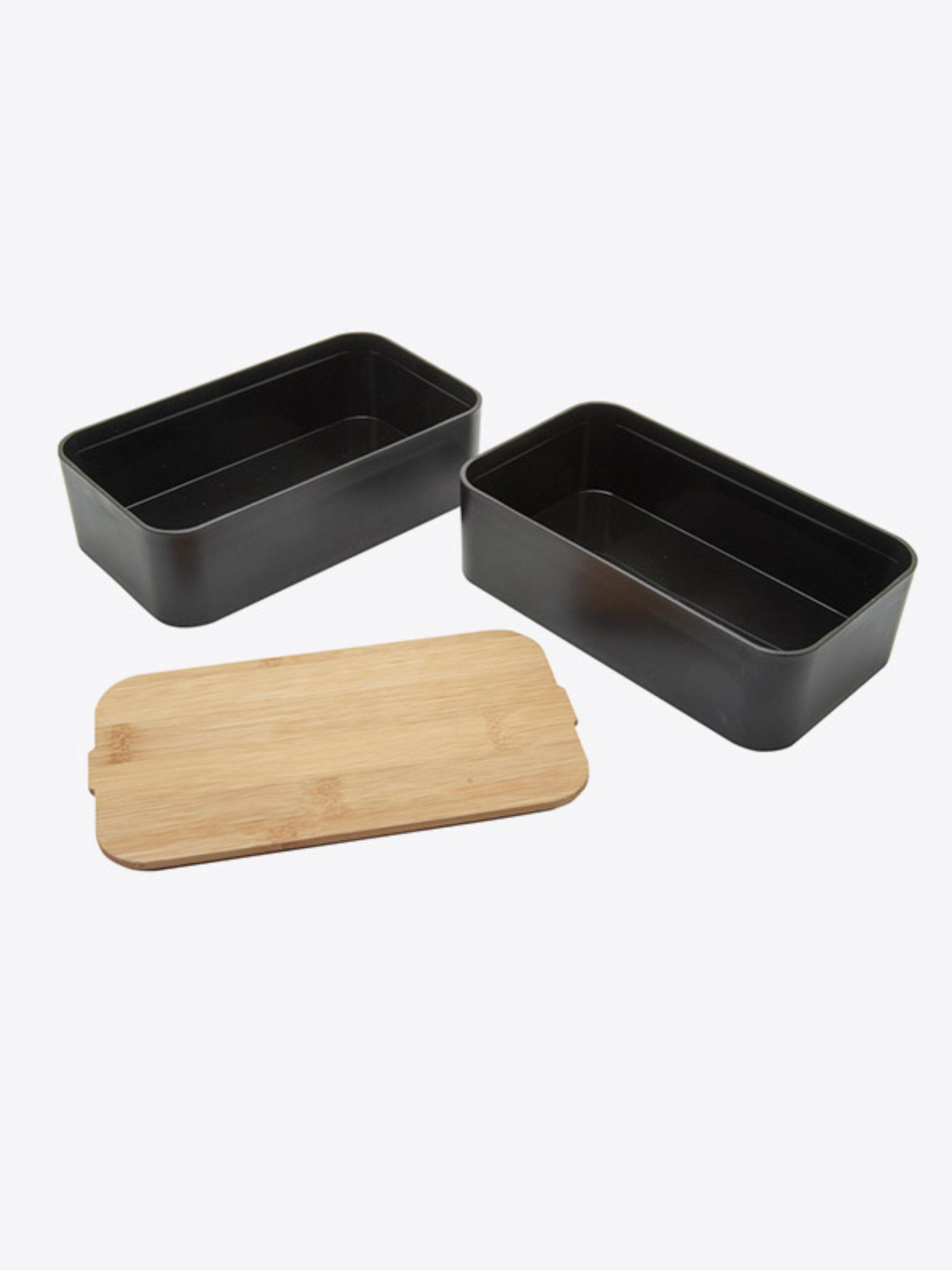 Lunchbox Bentobox Mihara Schwarz Mit Logo Motiv Zweiteilig