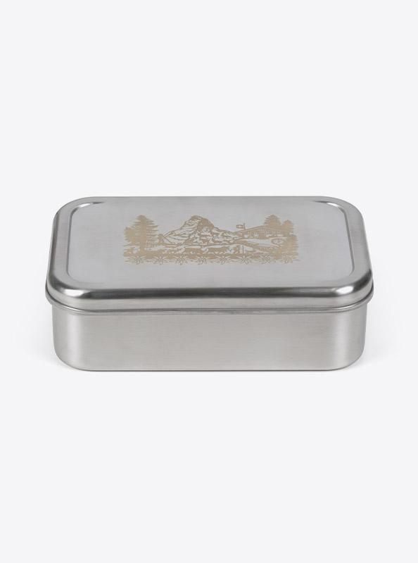 Lunchbox Edelstahl Laserdruck Mit Farbigen Zugband