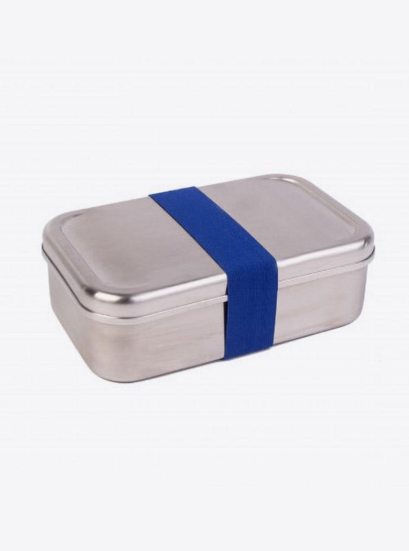 Lunchbox Edelstahl Textilband Dunkelblau