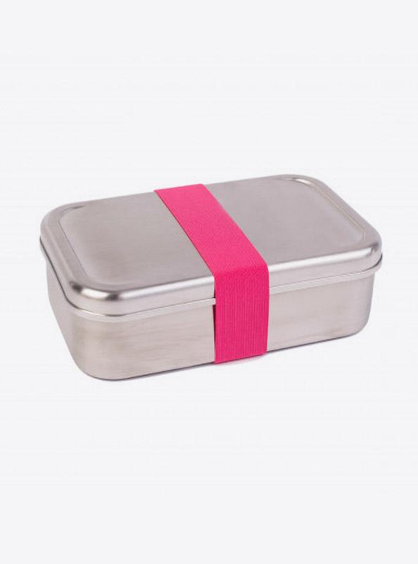 Lunchbox Edelstahl Textilband Pink