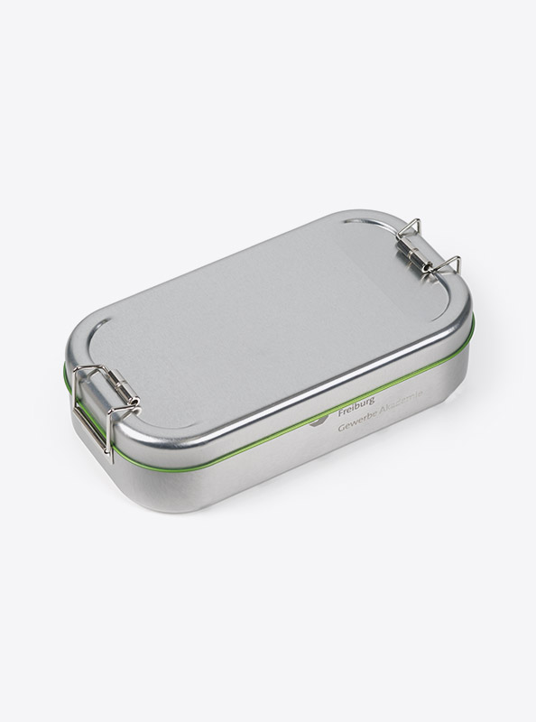 Lunchbox Green Mit Logo Praegung Druck Lasergravur