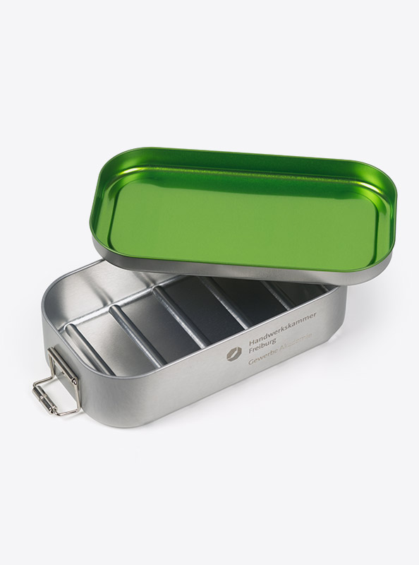 Lunchbox Green Mit Logo Praegung Gravur Zurich