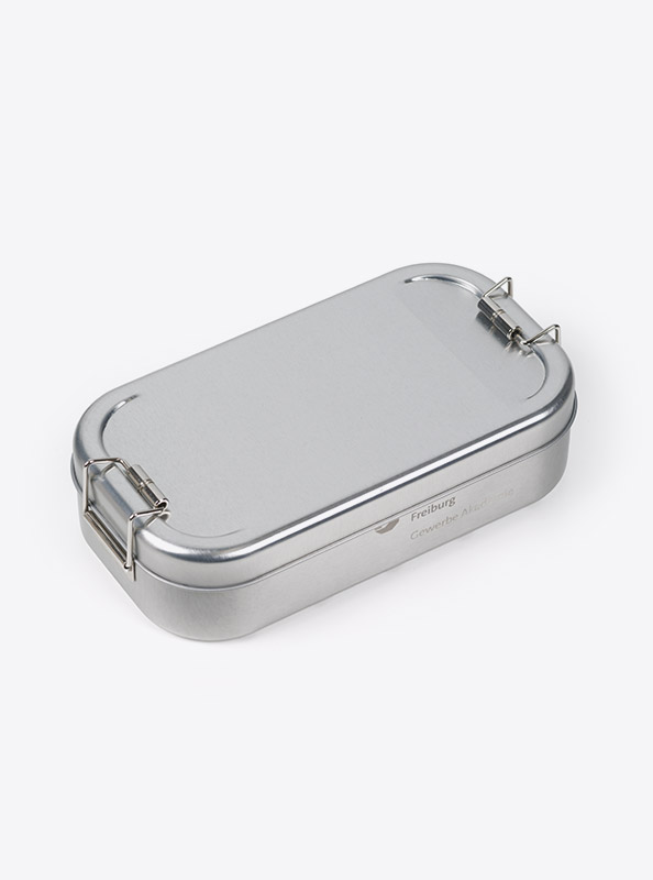 Lunchbox Silber Bedrucken Praegung Lasergravur