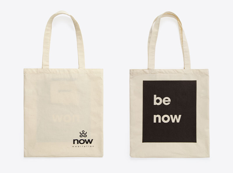 Now Meditation Shoppingbag Mit Logo Bedruckt