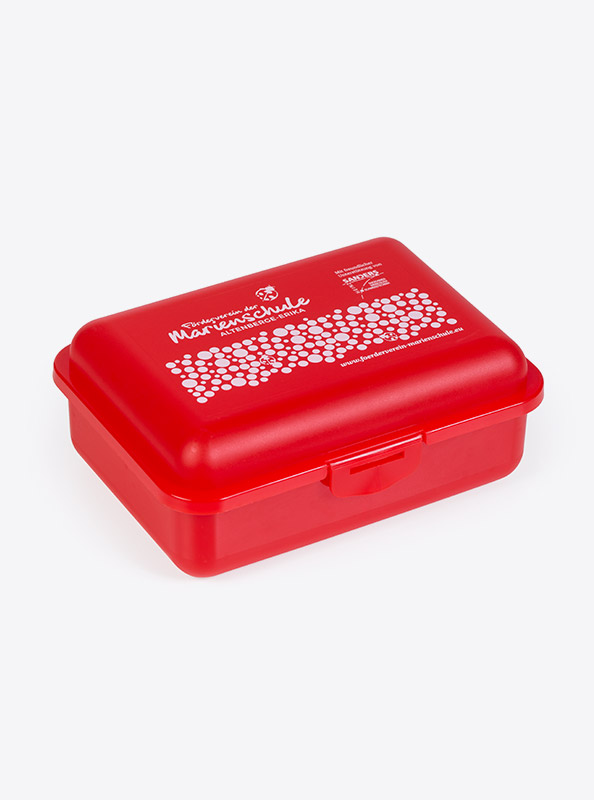 Snackbox Budget Mit Logo Motiv Bedrucken Rot Transparent