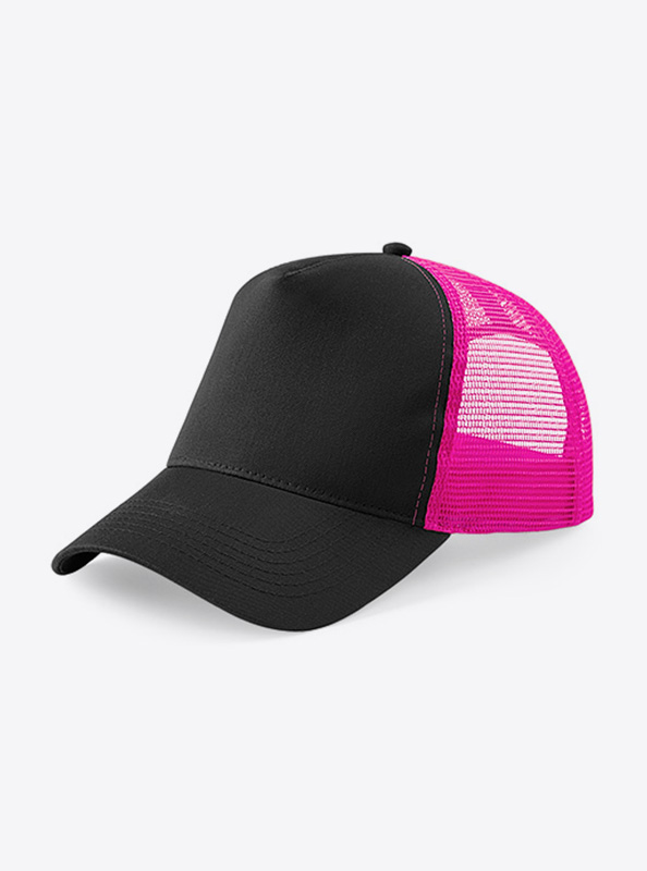 Trucker Cap Mit Logo Bedrucken Besticken Beechfield B640 Farbe Black Fuchsia Pink