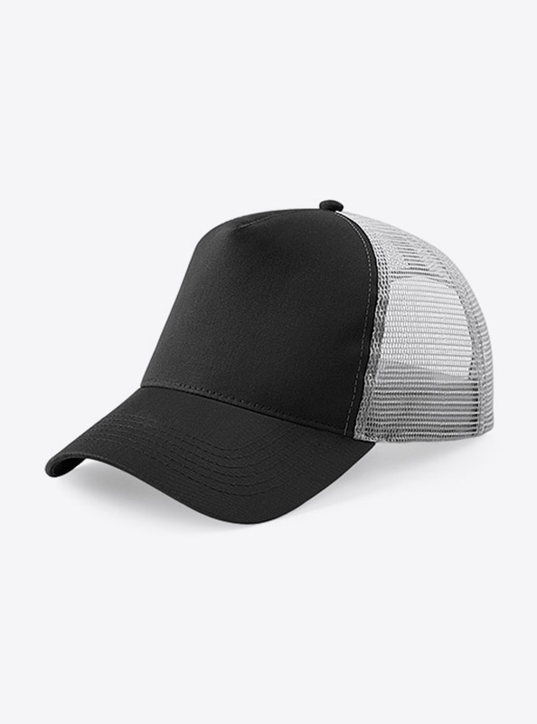 Trucker Cap Mit Logo Bedrucken Besticken Beechfield B640 Farbe Black Light Grey