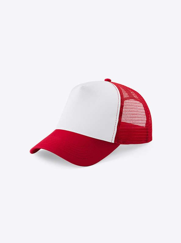 Trucker Cap Mit Logo Bedrucken Besticken Beechfield B640 Farbe Classic Red White