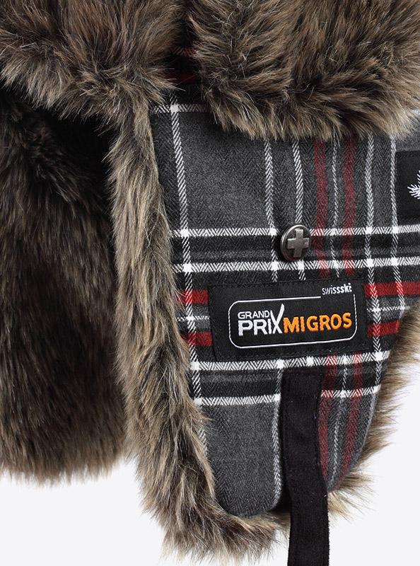 Wintermuetze Mit Fell Fuer Kundengeschenk Bedrucken Mit Logo